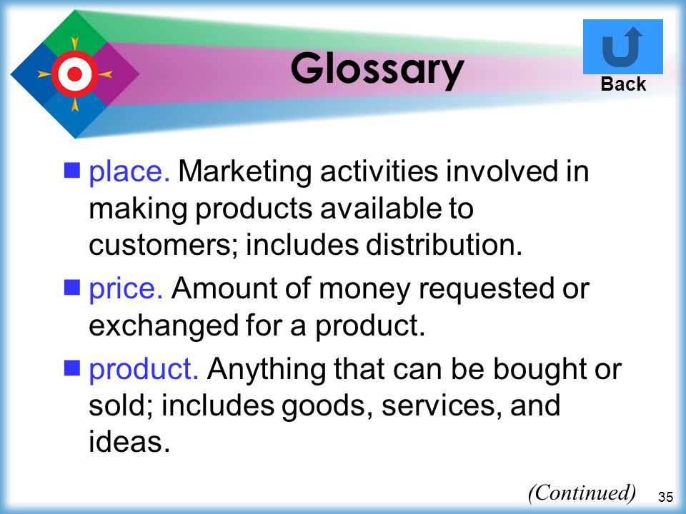 Glossary Back. place. Marketing activities involved in making products available to customers; includes distribution.