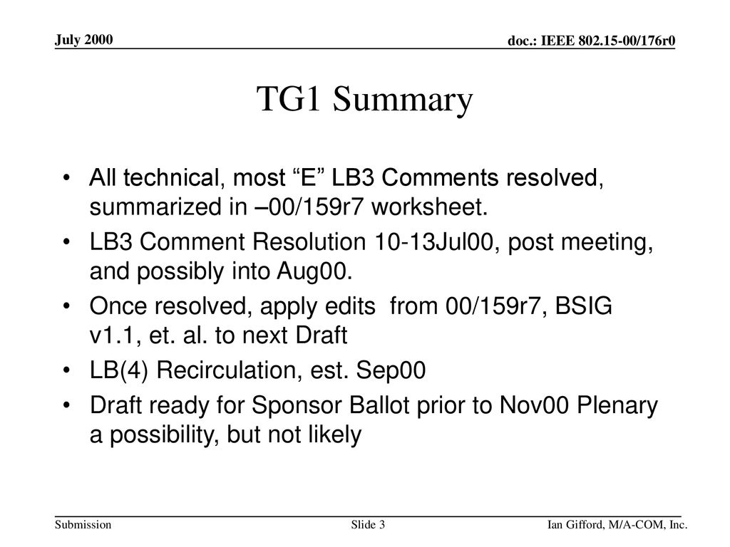 July 2000 doc.: IEEE /176r0. July TG1 Summary. All technical, most E LB3 Comments resolved, summarized in –00/159r7 worksheet.