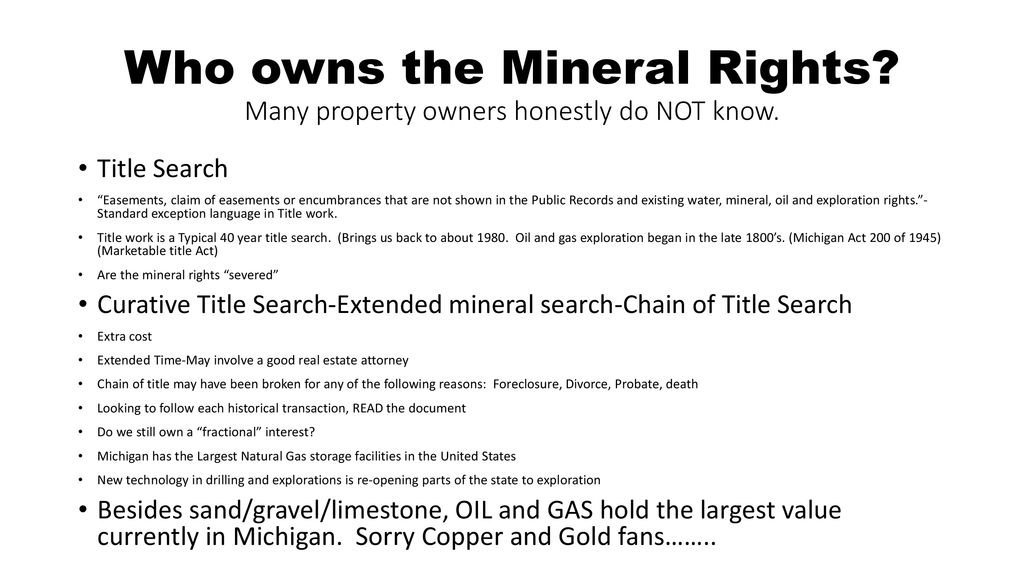 Mineral Rights Jim Vander Veen Land Matters, LLC Grand
