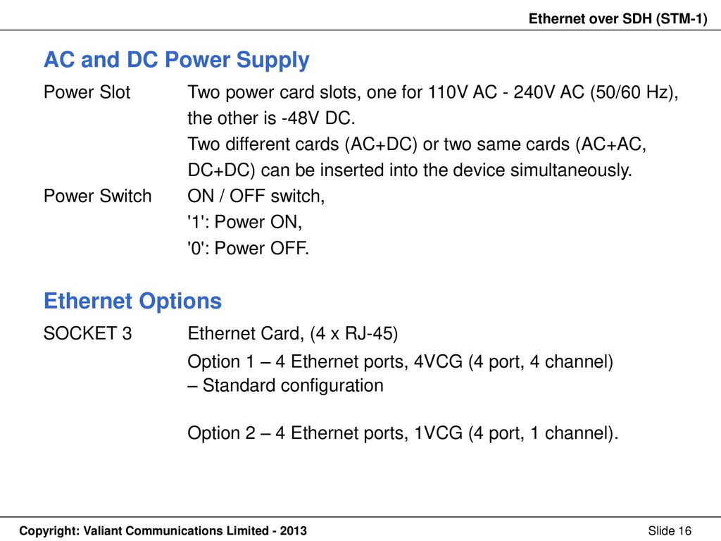 Ethernet Over Sdh Stm 1 Ppt Download Option 2 Power To Switches Ac And Dc Supply Options