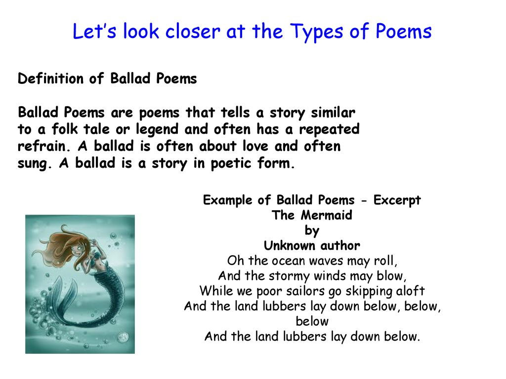 Types of Poems  - ppt download