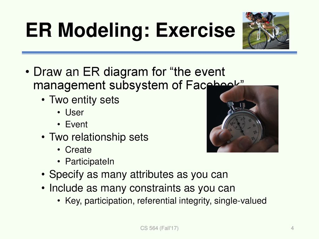 er modeling: exercise draw an er diagram for the event management subsystem  of facebook two
