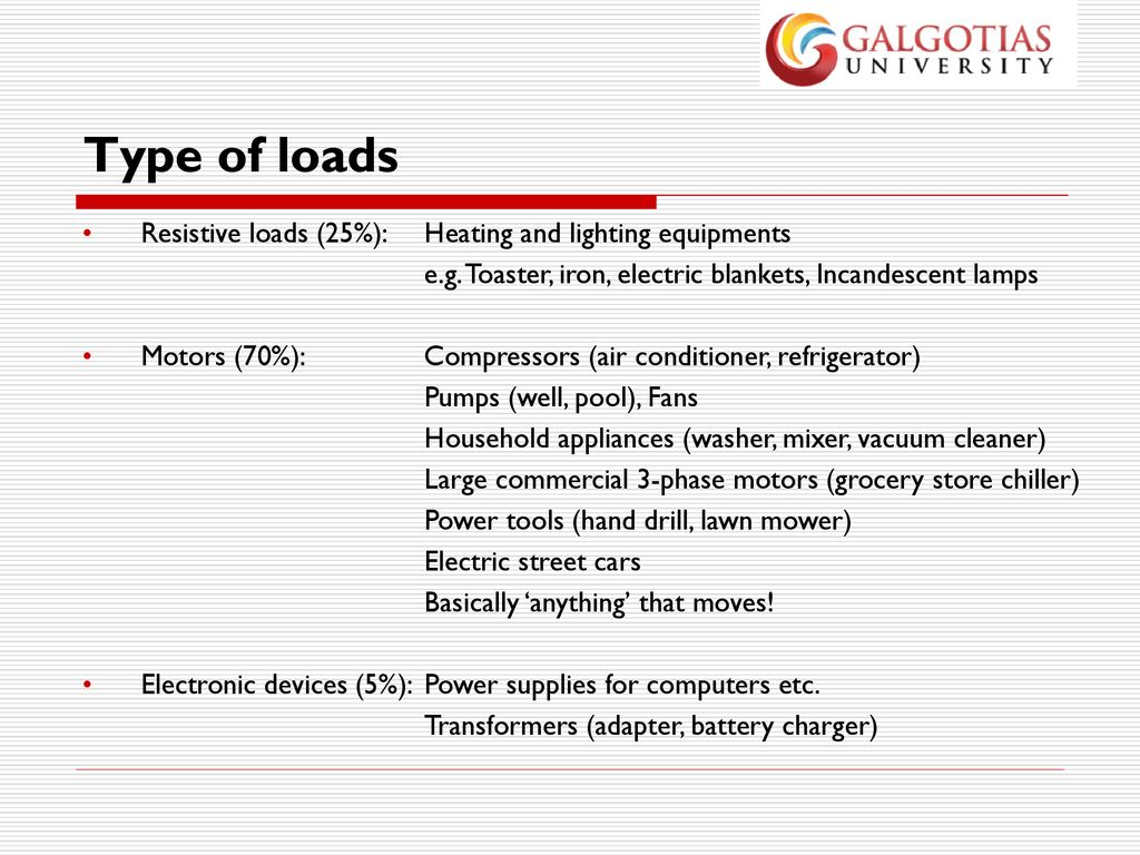 Power System Operation And Control By Dr Ppt Download Electric Blanket Wiring Diagram Besides Circuit Type Of Loads Resistive 25 Heating Lighting Equipments