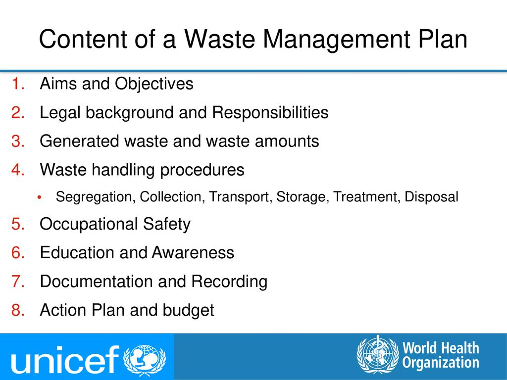 Content of a Waste Management Plan