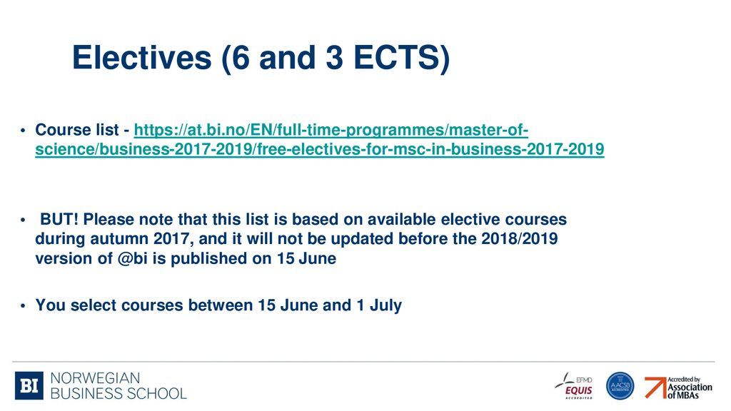 Electives 6 And 3 ECTS