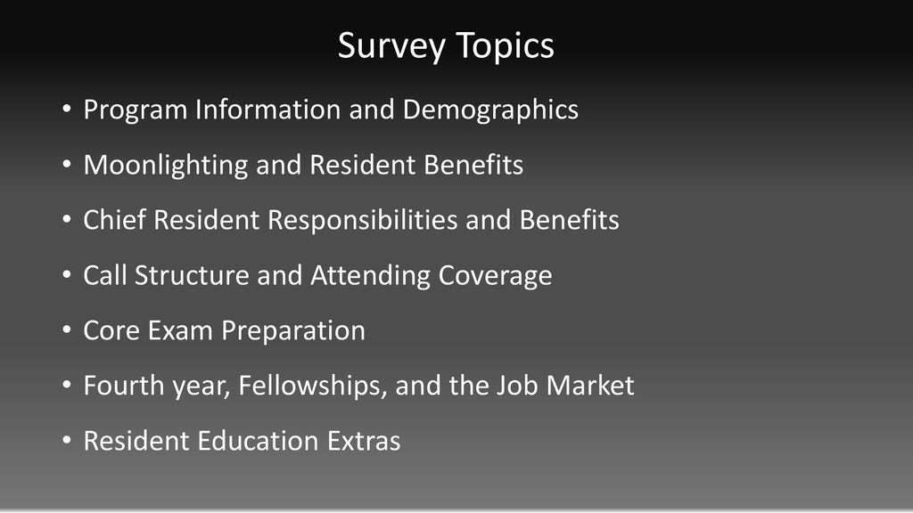 2018 A3CR2 Chief Resident Survey - ppt download