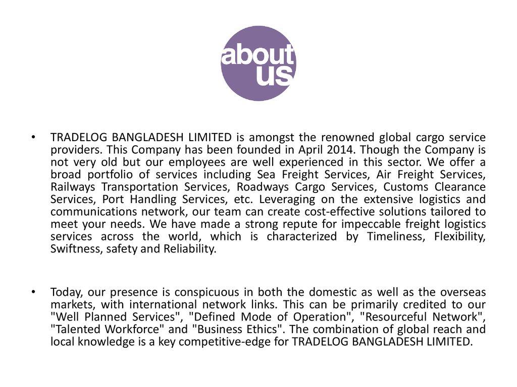 TRADELOG BANGLADESH LIMITED - ppt download