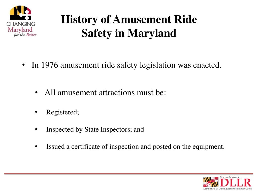 Maryland Amusement Ride Safety Ppt Download