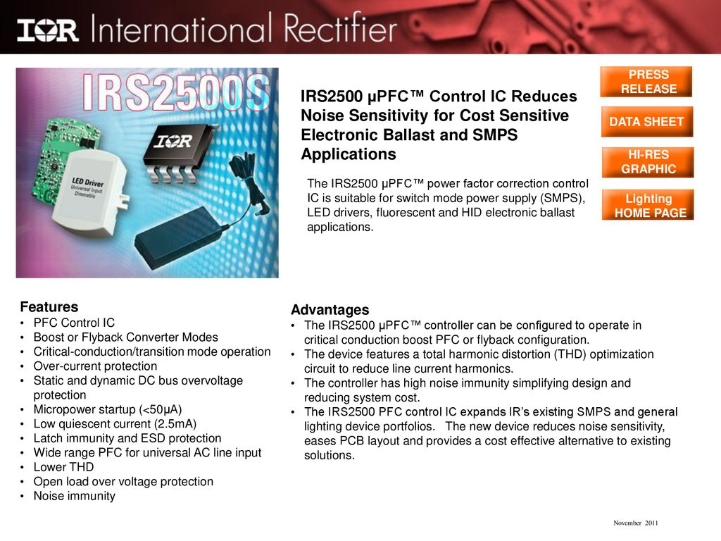 PRESS RELEASE IRS2500 µPFC™ Control IC Reduces Noise