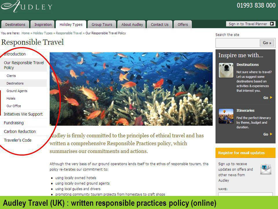 Audley Travel (UK) : written responsible practices policy (online)