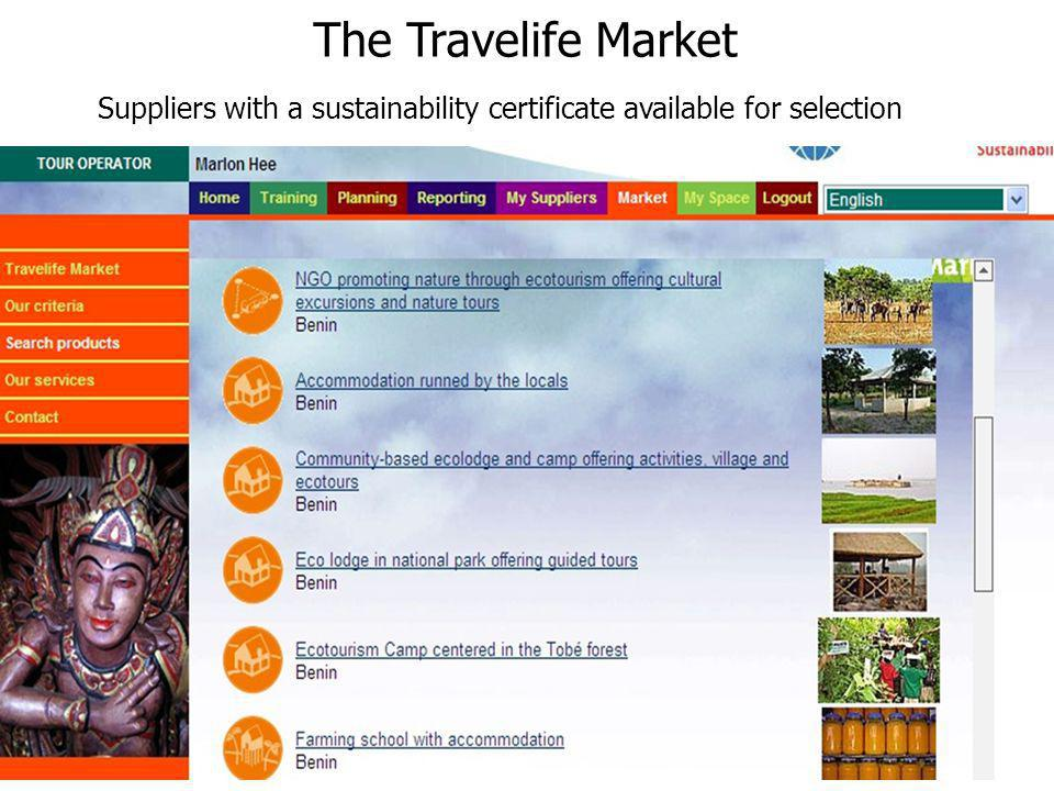 The Travelife Market Suppliers with a sustainability certificate available for selection