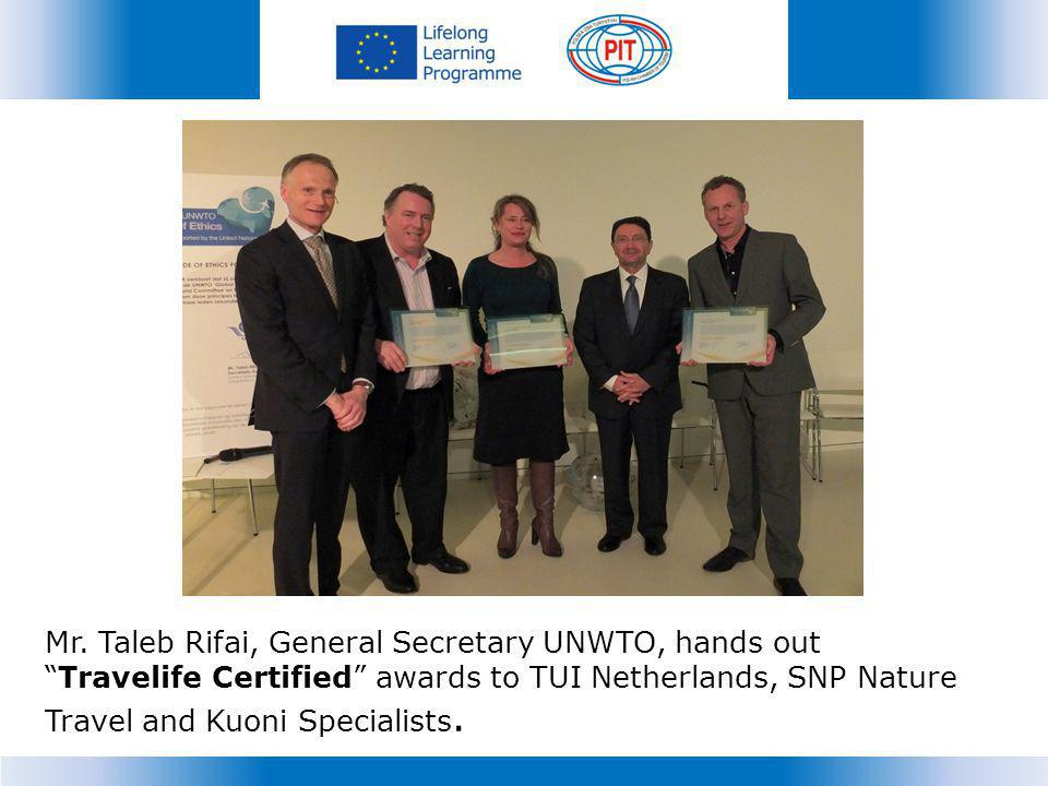 Mr. Taleb Rifai, General Secretary UNWTO, hands out