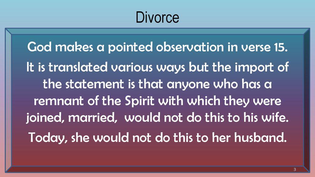 does god ever want divorce