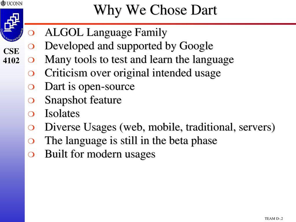 CSE4102/5102 Team Project Dart Programming Language - ppt