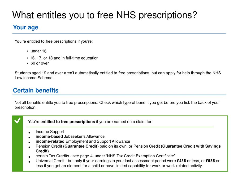 at what age do you get free prescriptions