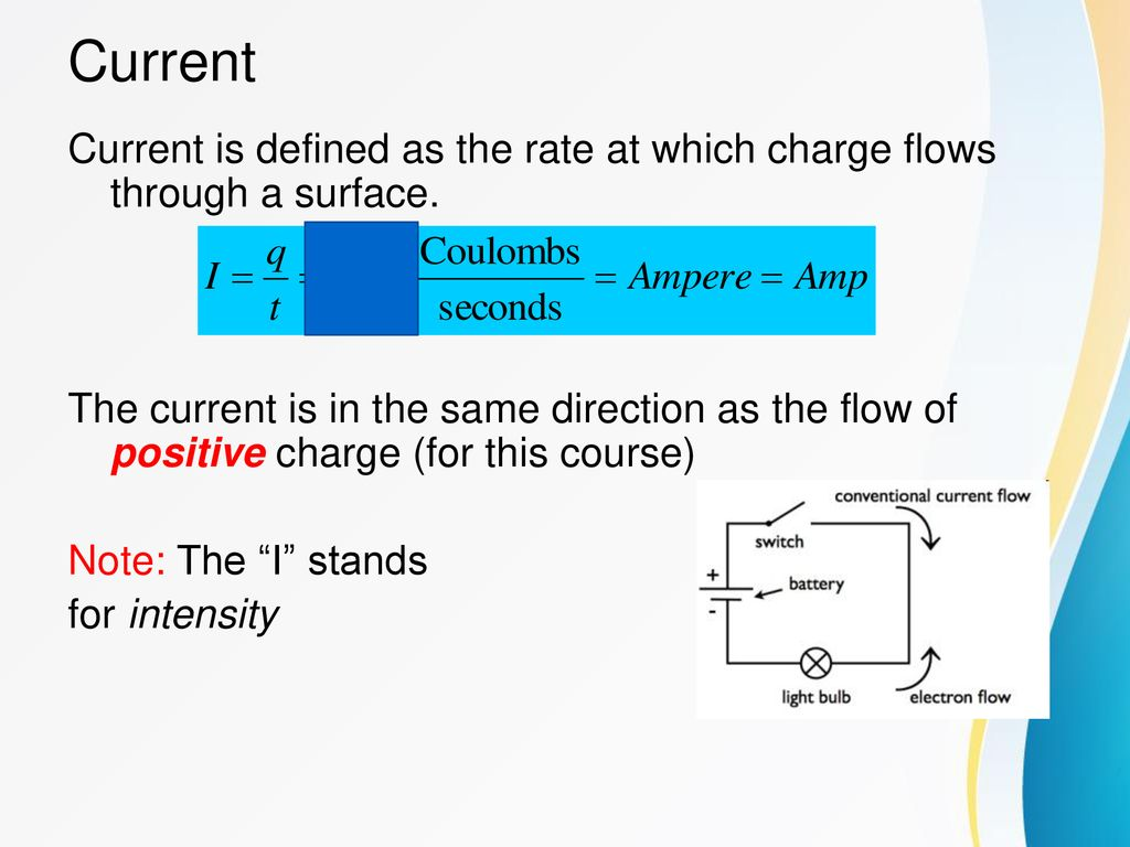 Electric Circuits Ppt Download Is Electricity Electrical Definitions Definition Of Amps Current Defined As The Rate At Which Charge Flows Through A Surface