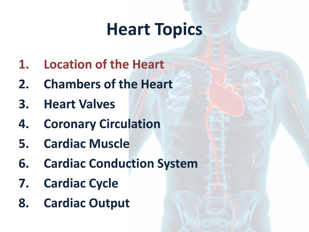 Heart Topics Location of the Heart Chambers of the Heart Heart Valves