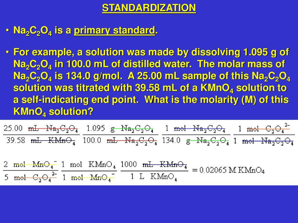 standardization of kmno4 with na2c2o4