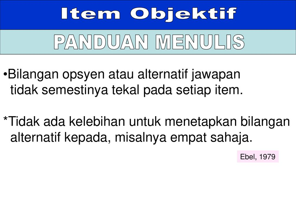 Membina Item Objektif Subjektif Ppt Download