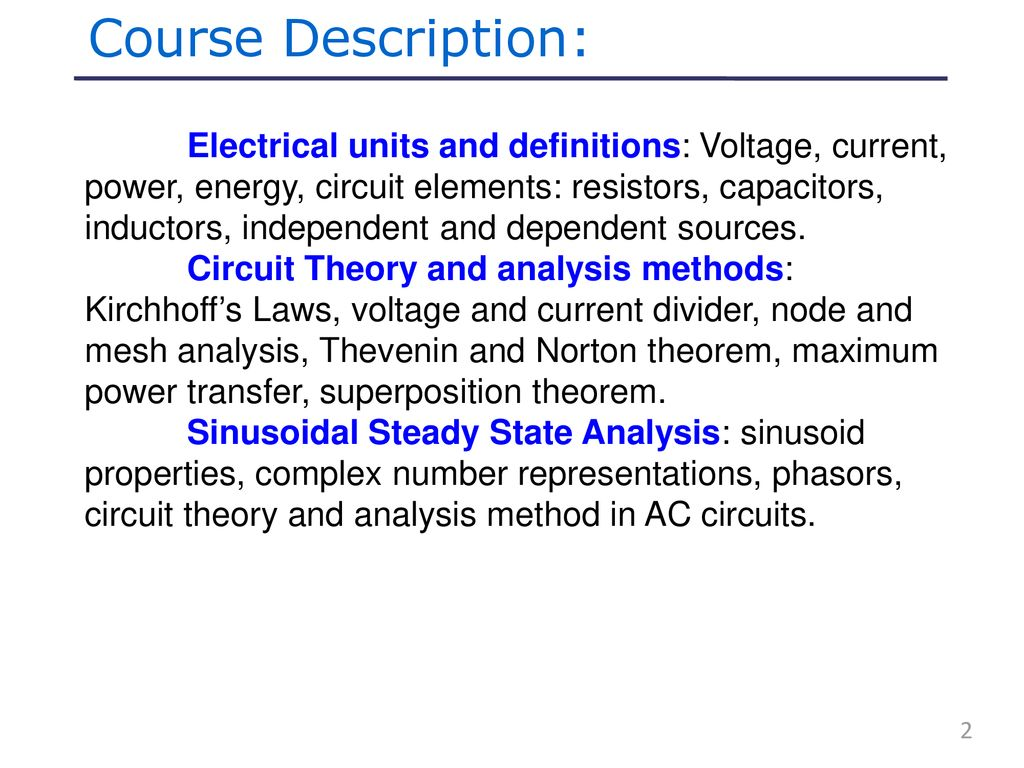 Fundamental Of Electrical Circuits Ppt Download Circuit Theory The Concept Wiring In Parallel And 2 Course Description Units Definitions Voltage