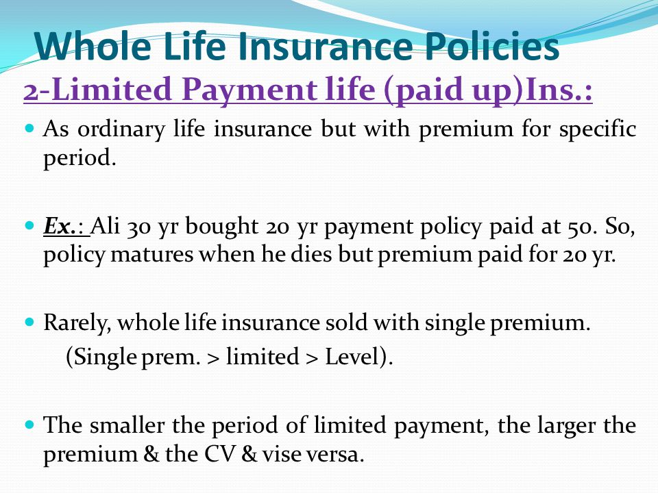 Image result for WHOLE LIFE ASSURANCE BY LIMITED PAYMENT