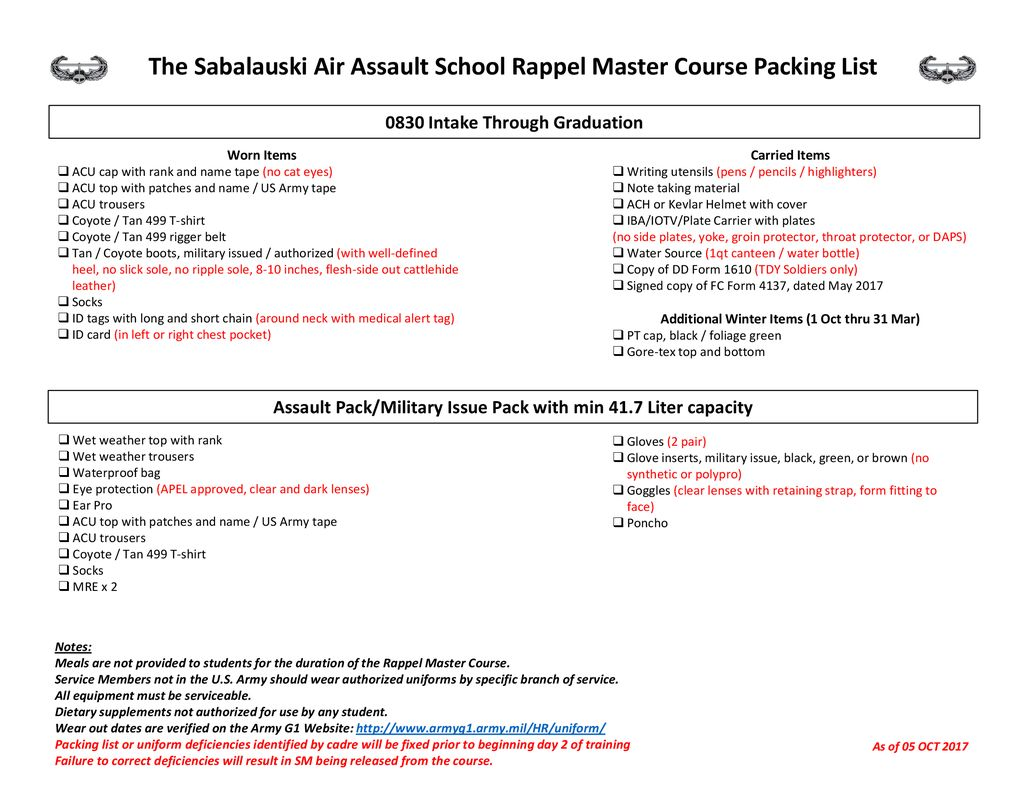 the sabalauski air assault school rappel master course packing list