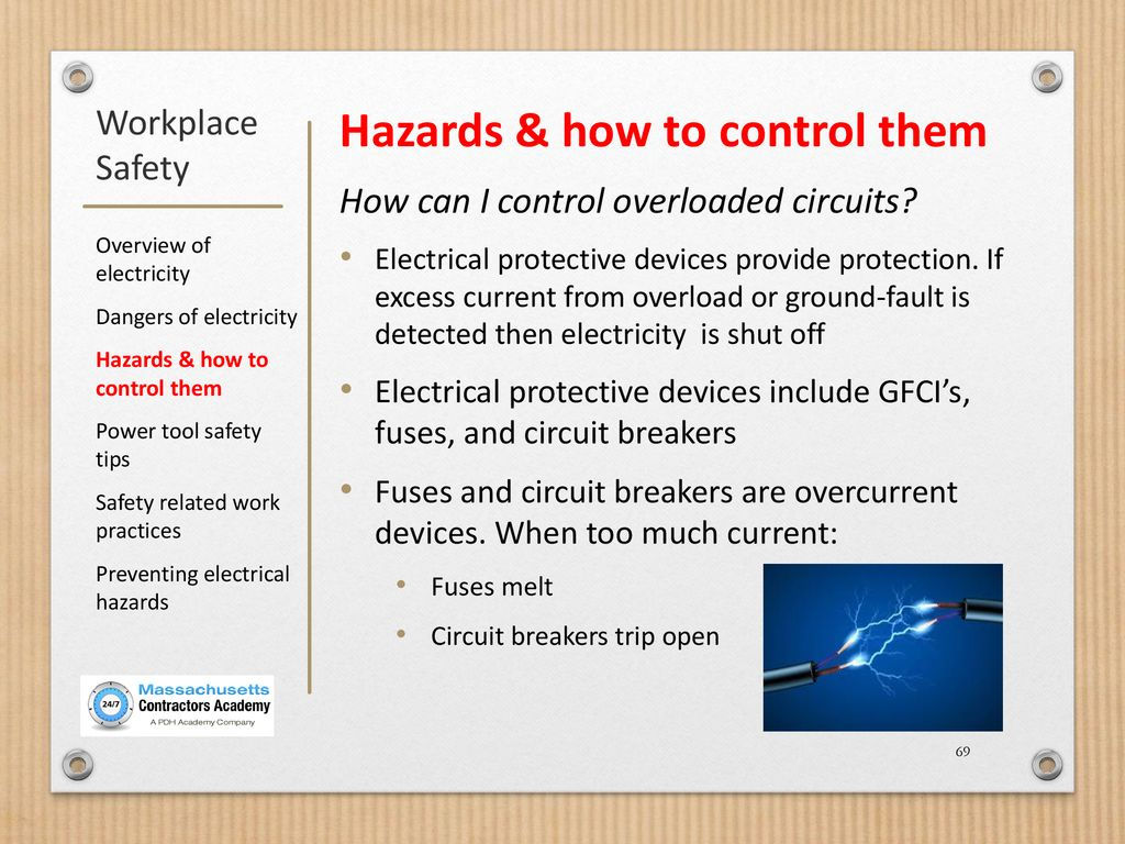 Workplace Safety Using Electricity Ppt Download Identifies Circuit Breakers And Fuses Without Service Interruption Gfi 69 Hazards