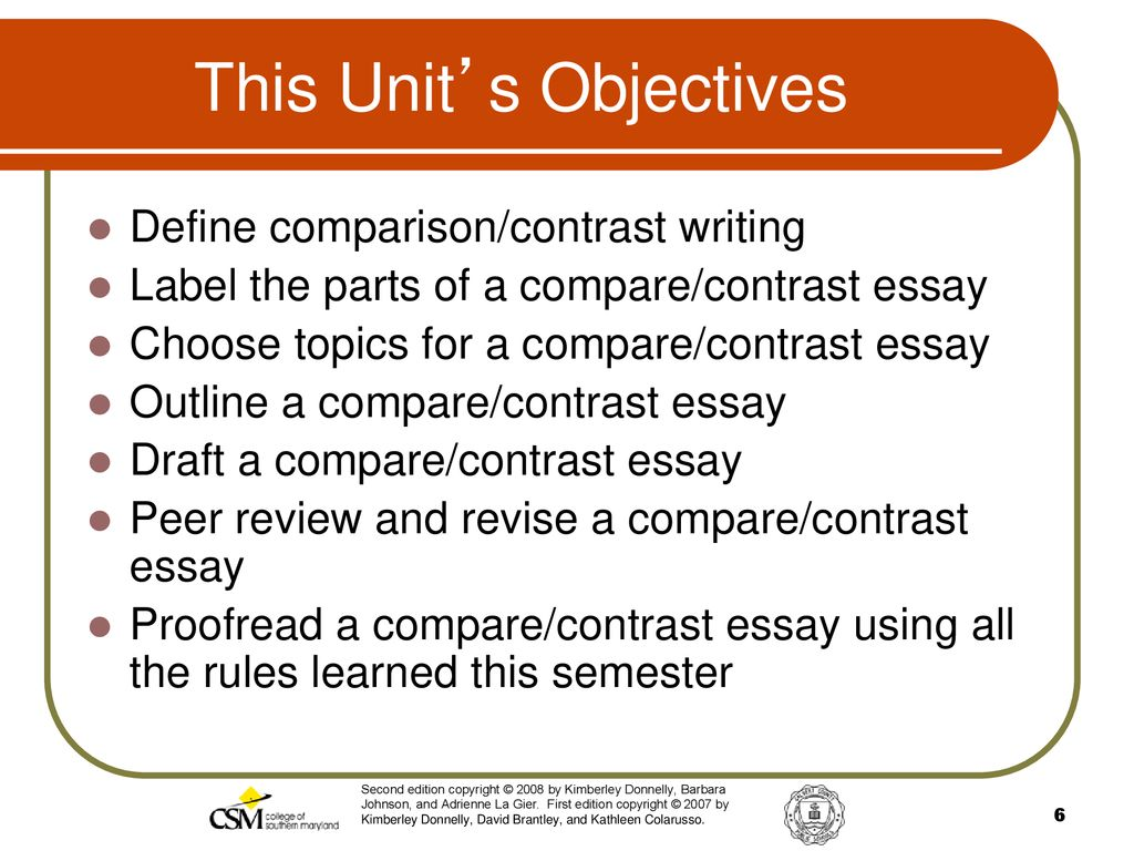 Essay For High School Application  This Units Objectives The Yellow Wallpaper Critical Essay also Cause And Effect Essay Topics For High School Unit  Comparisoncontrast Mode  Ppt Download Research Essay Thesis