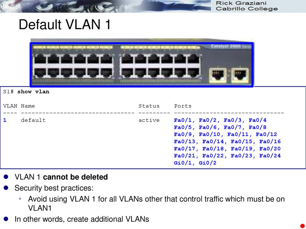 CIS 82 Routing and Switching Essentials Chapter 6 VLANs