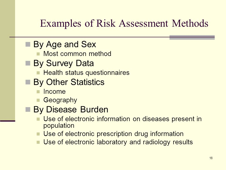 Examples of Risk Assessment Methods