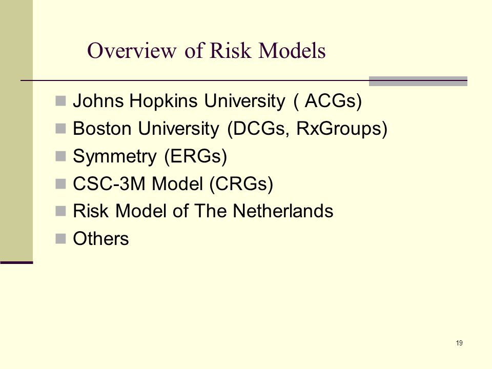 Overview of Risk Models