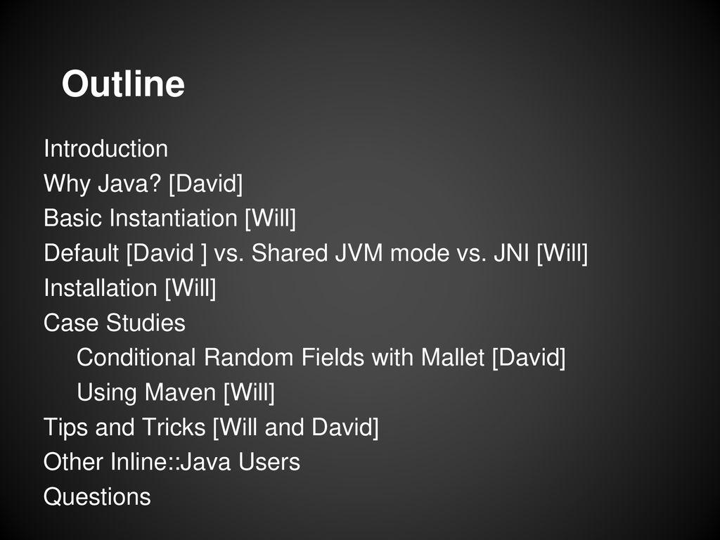 Inline::Java beyond the POD William Cox (cpan: MYDMNSN