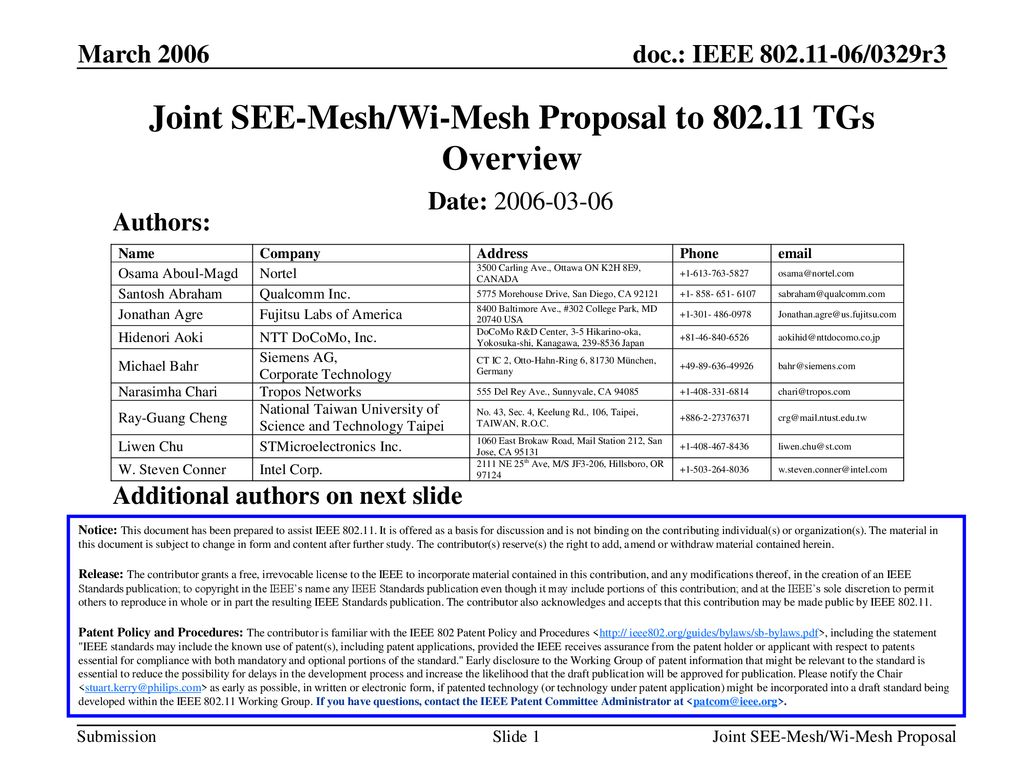 Joint SEE-Mesh/Wi-Mesh Proposal to TGs Overview - ppt download