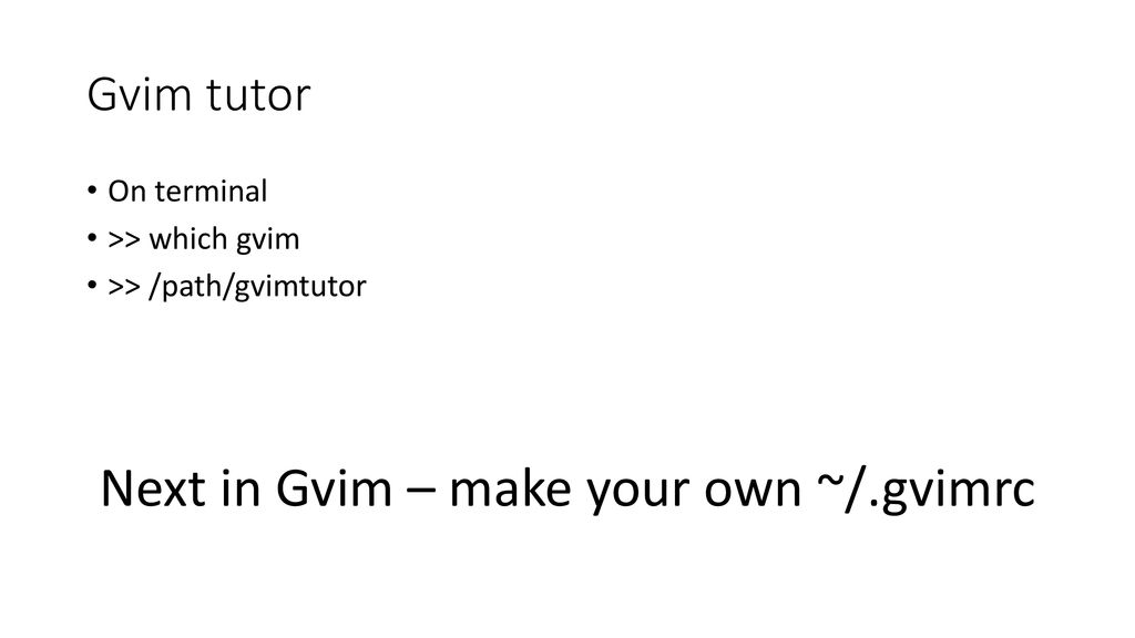 Basic gvim commands  - ppt download