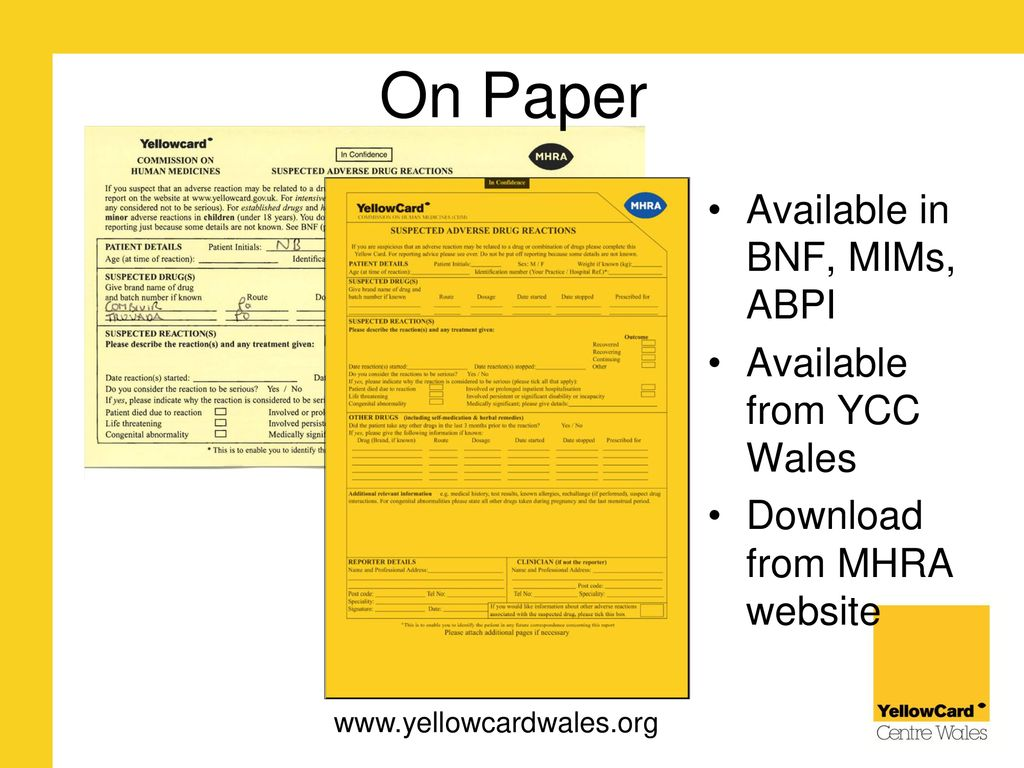 The Yellow Card Scheme Reporting Adverse Drug Reactions Ppt Download