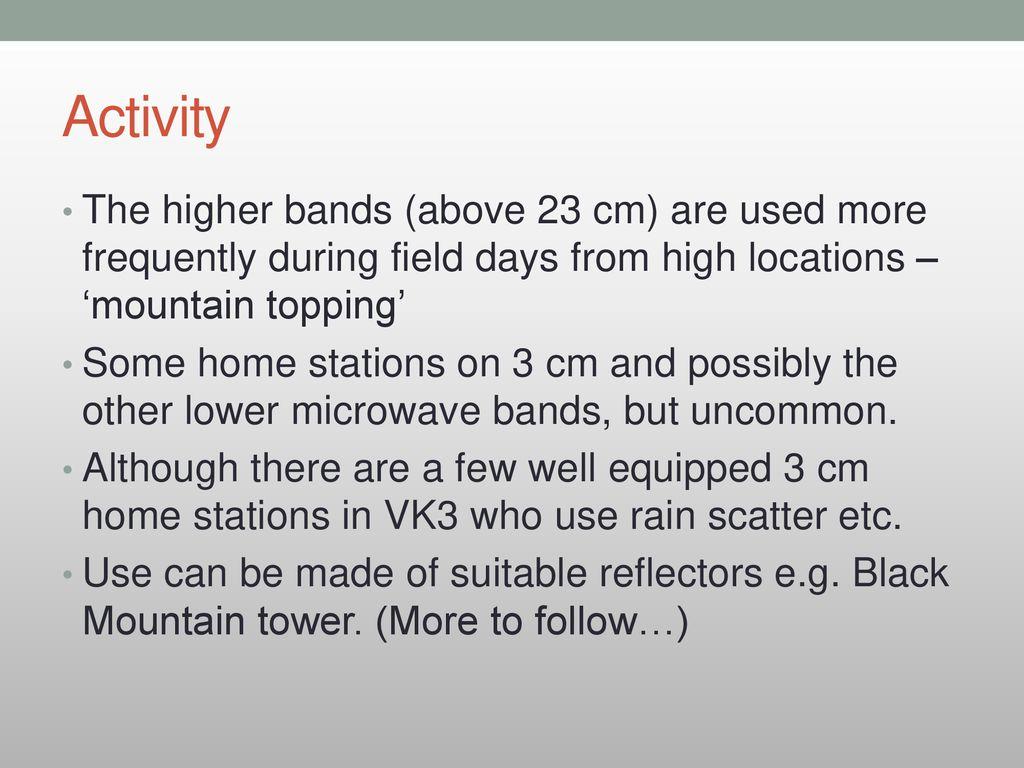 Life Above 70cm Dale Hughes Vk1dsh Canberra Region Amateur Radio 134ghz Station Block Diagrams 6 Activity
