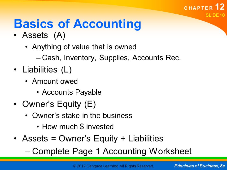 Basics of Accounting Assets (A) Liabilities (L) Owner's Equity (E)