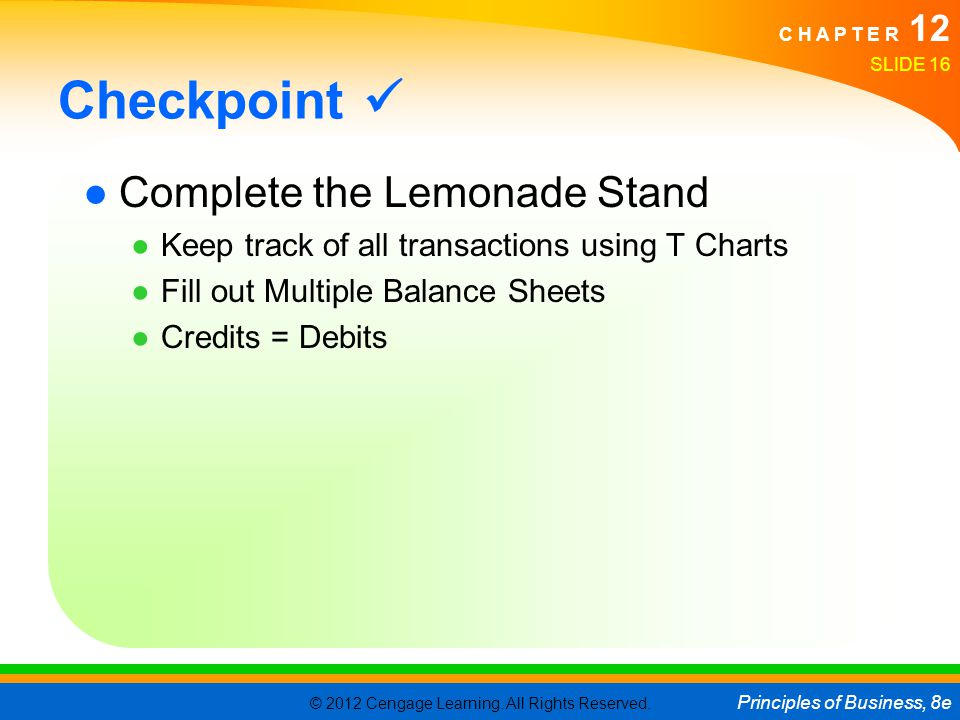 Checkpoint  Complete the Lemonade Stand