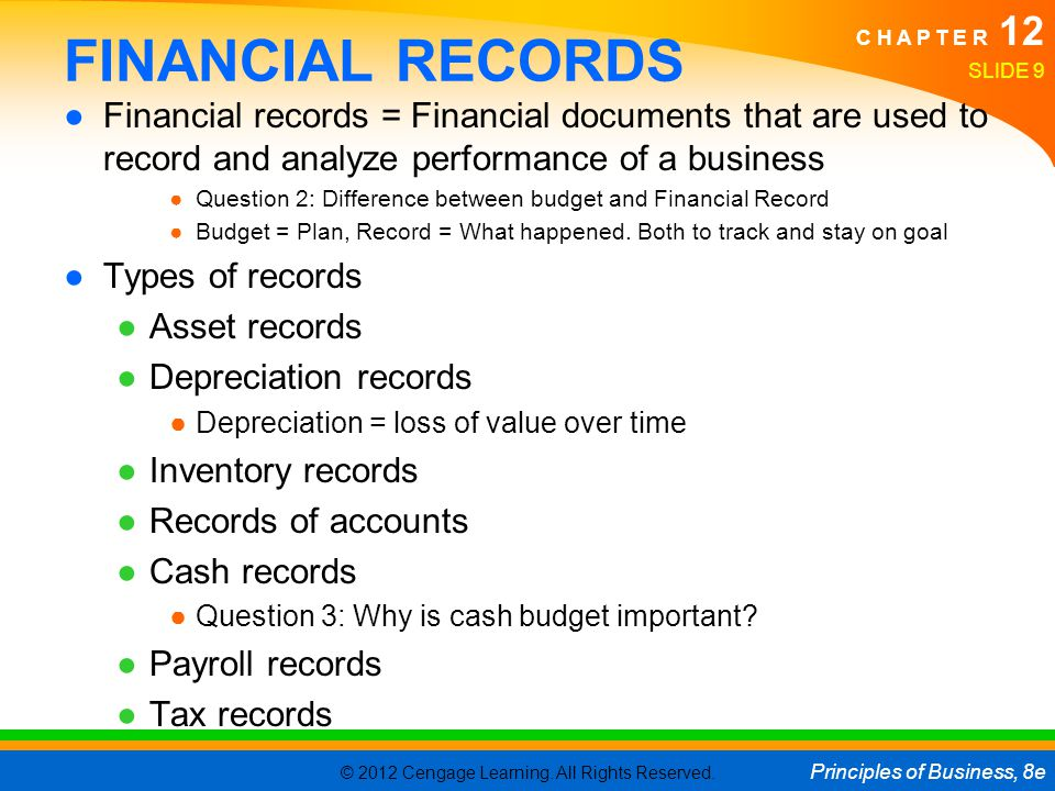 FINANCIAL RECORDS Financial records = Financial documents that are used to record and analyze performance of a business.