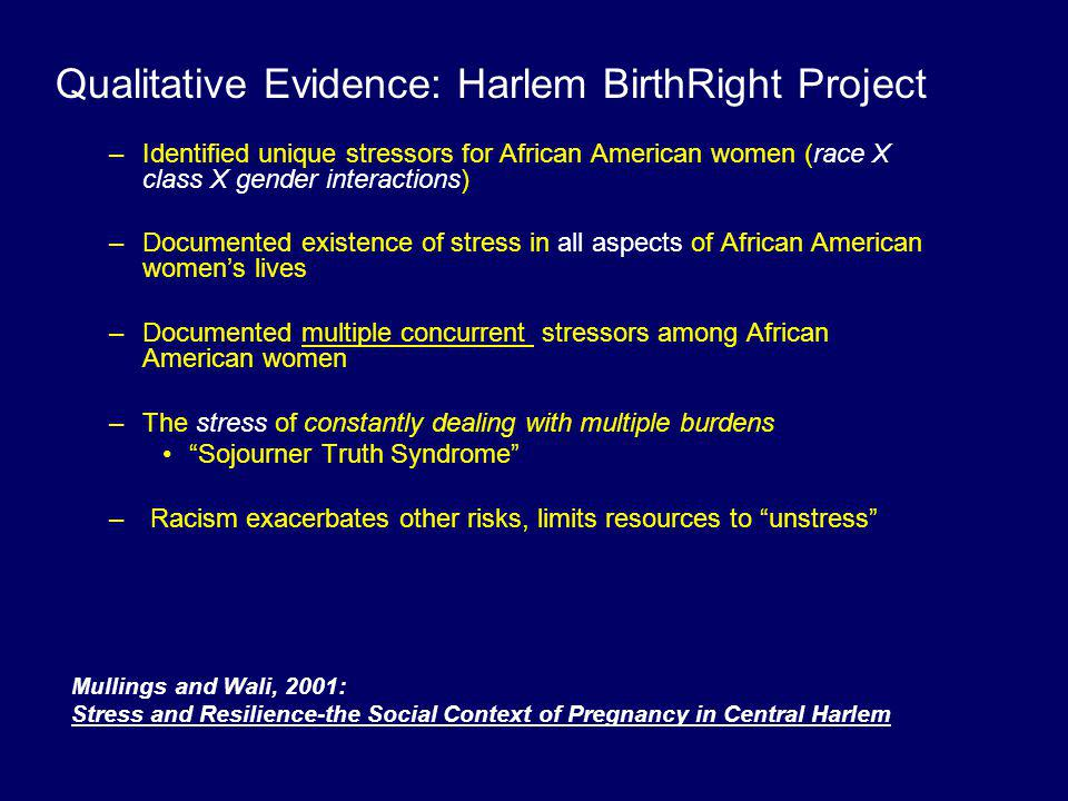 Qualitative Evidence: Harlem BirthRight Project