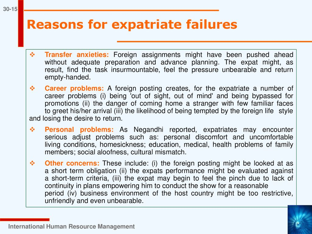 reasons for expatriate failure