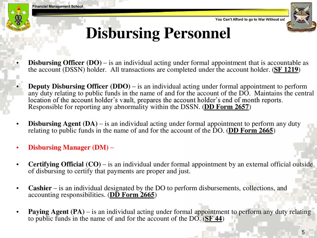Perform Deputy Disbursing Officer Functions - ppt download
