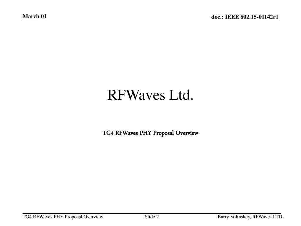 TG4 RFWaves PHY Proposal Overview
