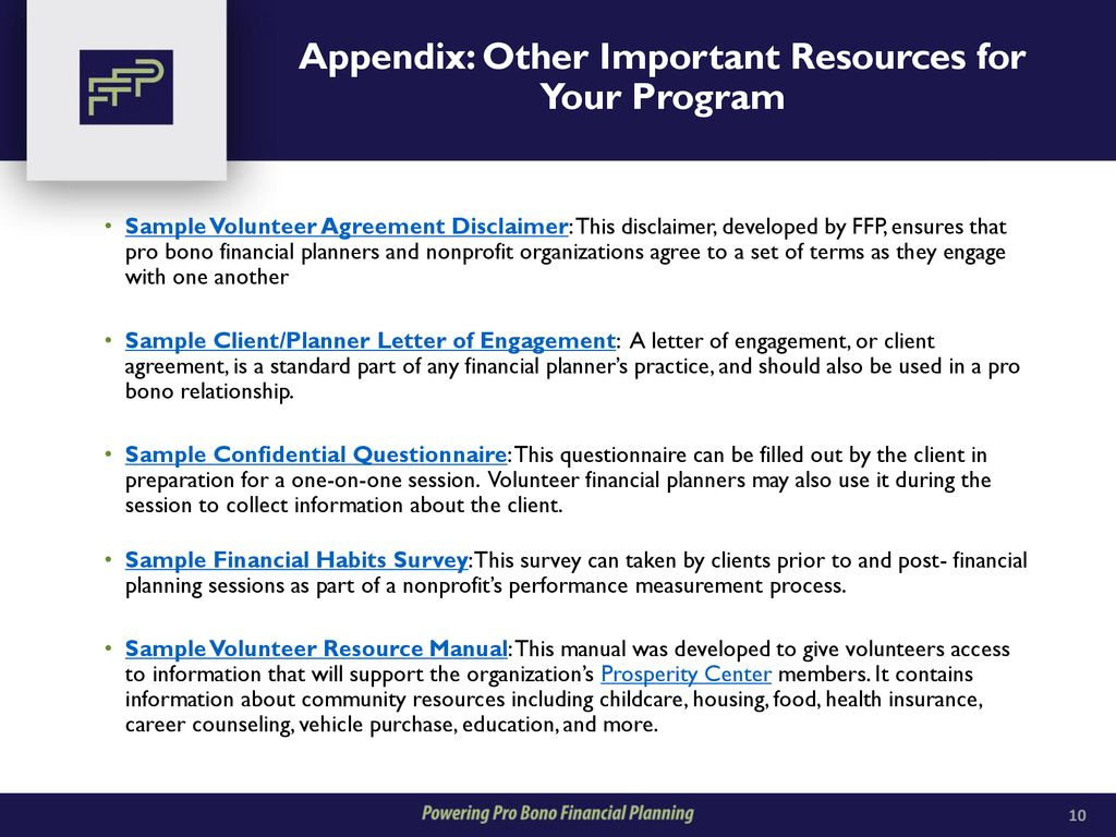 12 Appendix Other Important Resources For Your Program Sample Volunteer Agreement