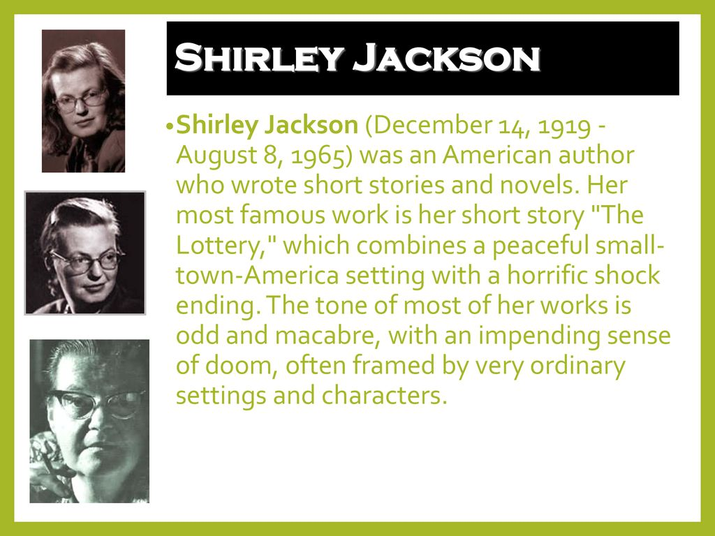 who wrote the lottery short story
