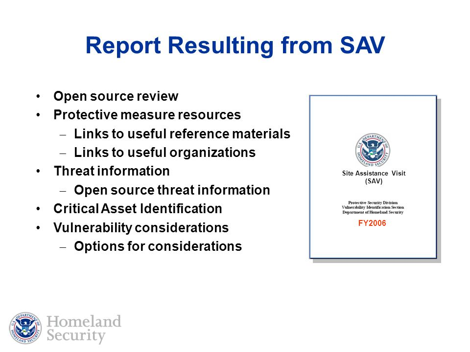 Report Resulting from SAV