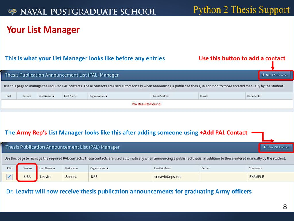 List Management Tool for Thesis Publication Notifications