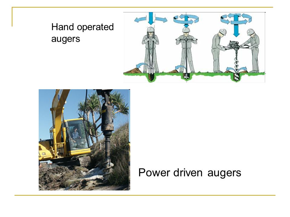 Hand operated augers Power driven augers