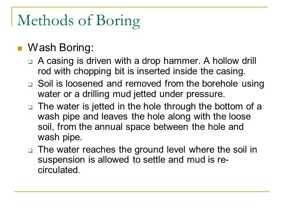 Methods of Boring Wash Boring: