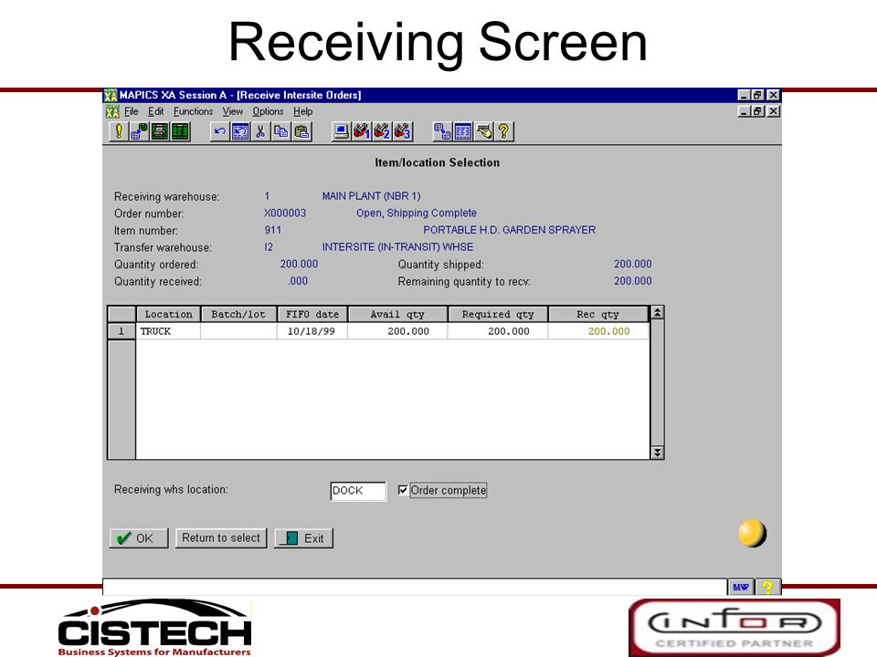Receiving Screen